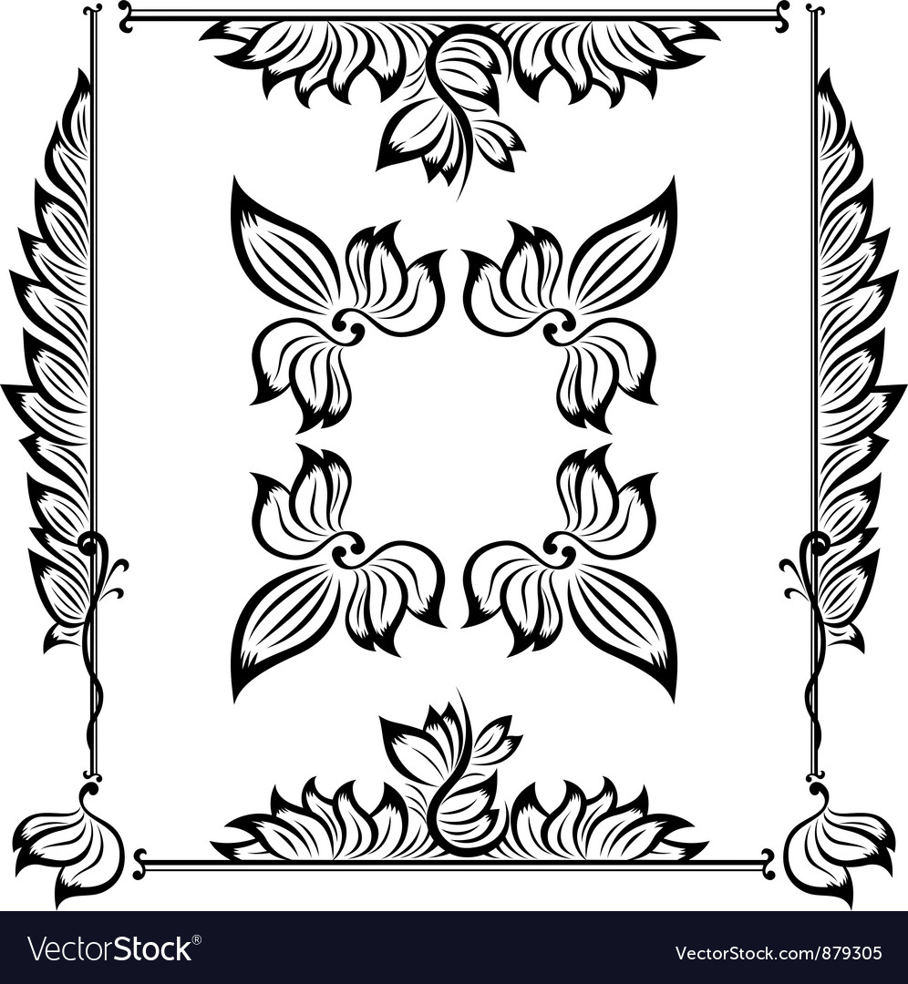 Decor floral frame vector | Price: 1 Credit (USD $1)
