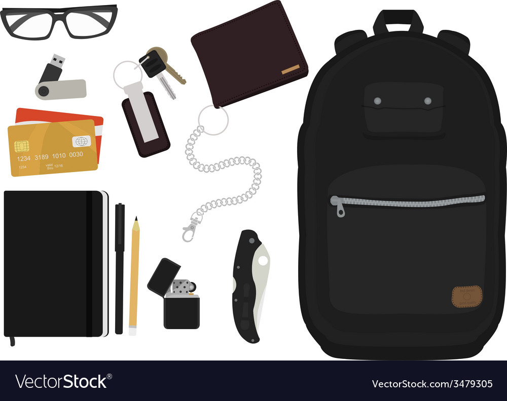 Every day carry man items no outlines vector | Price: 1 Credit (USD $1)