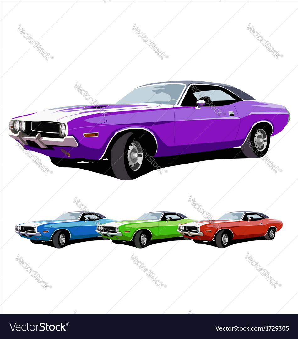 Hot american muscle cars vector | Price: 1 Credit (USD $1)