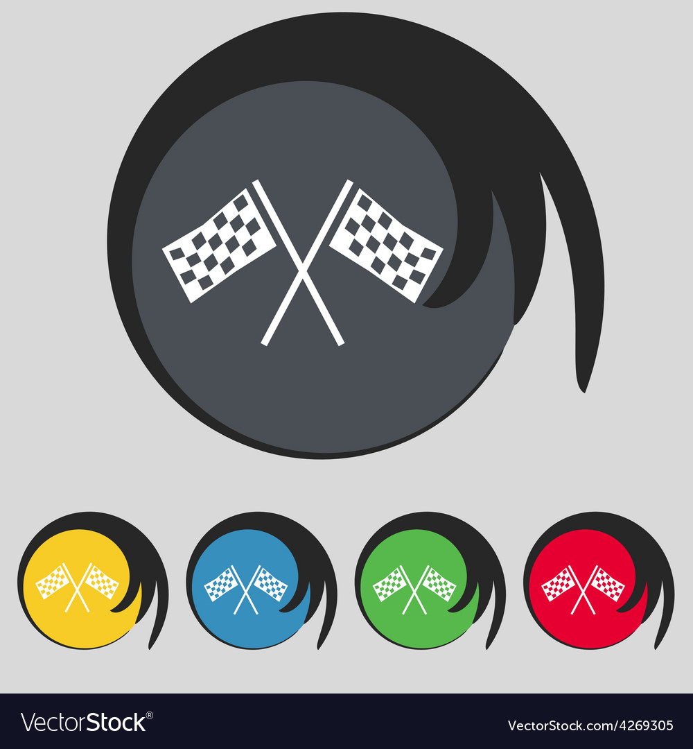 Race flag finish icon sign symbol on five colored vector | Price: 1 Credit (USD $1)