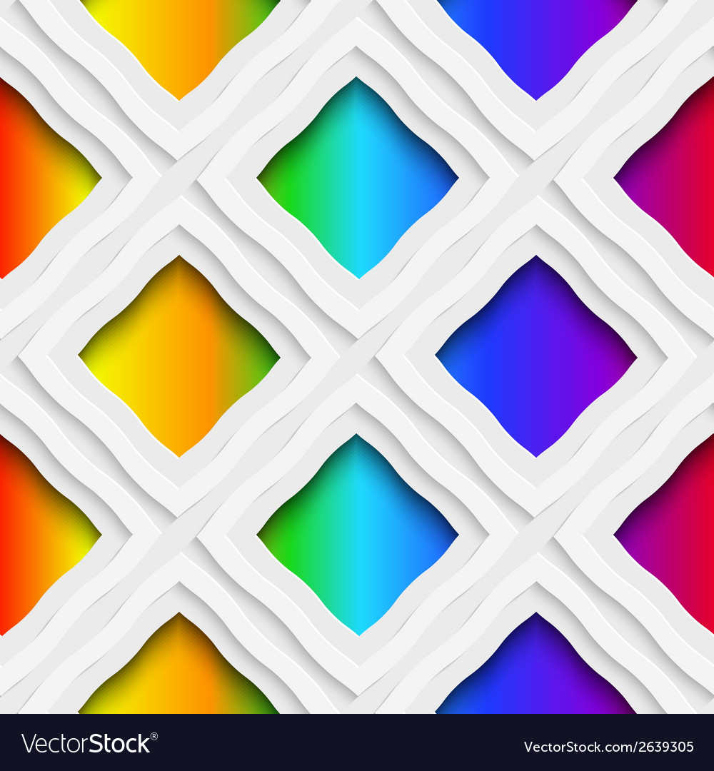 Rainbow colored rectangles holes and rim seamless vector | Price: 1 Credit (USD $1)