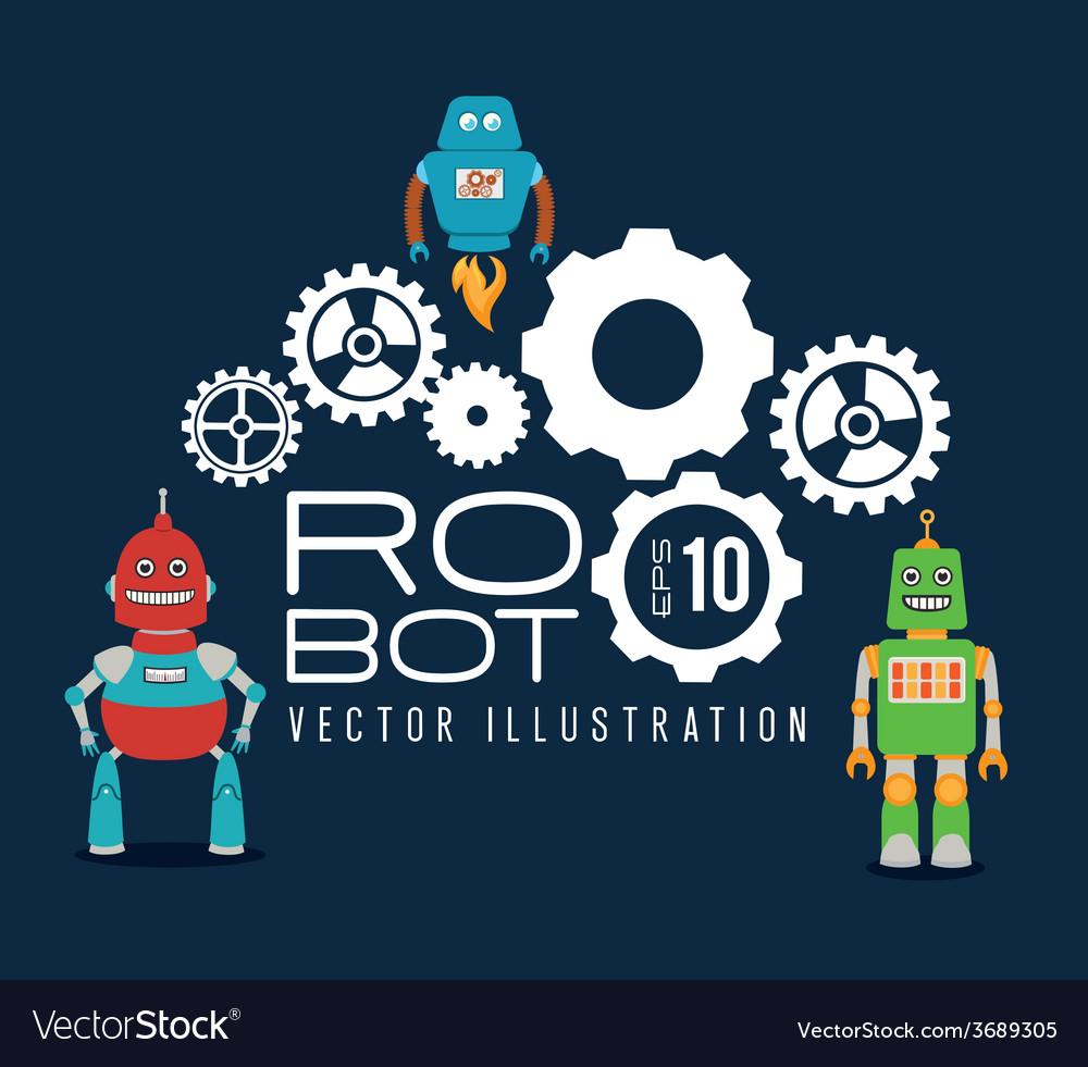 Robot design over blue background vector   Price: 1 Credit (USD $1)