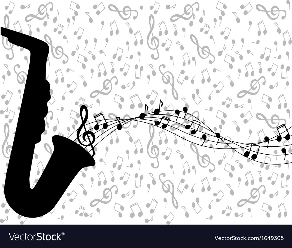 Saxophone and notes vector | Price: 1 Credit (USD $1)