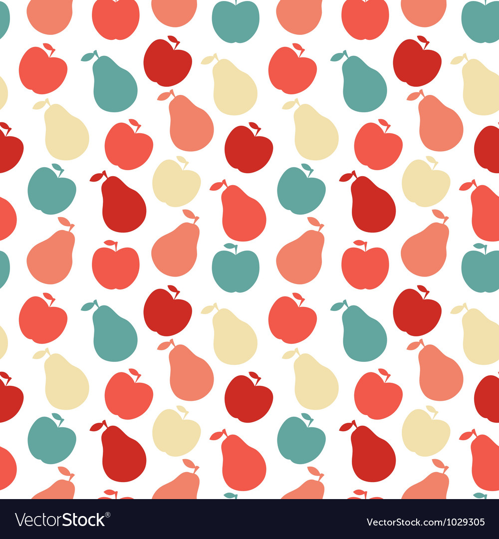 Seamless fruit pattern- apple and pear vector | Price: 1 Credit (USD $1)