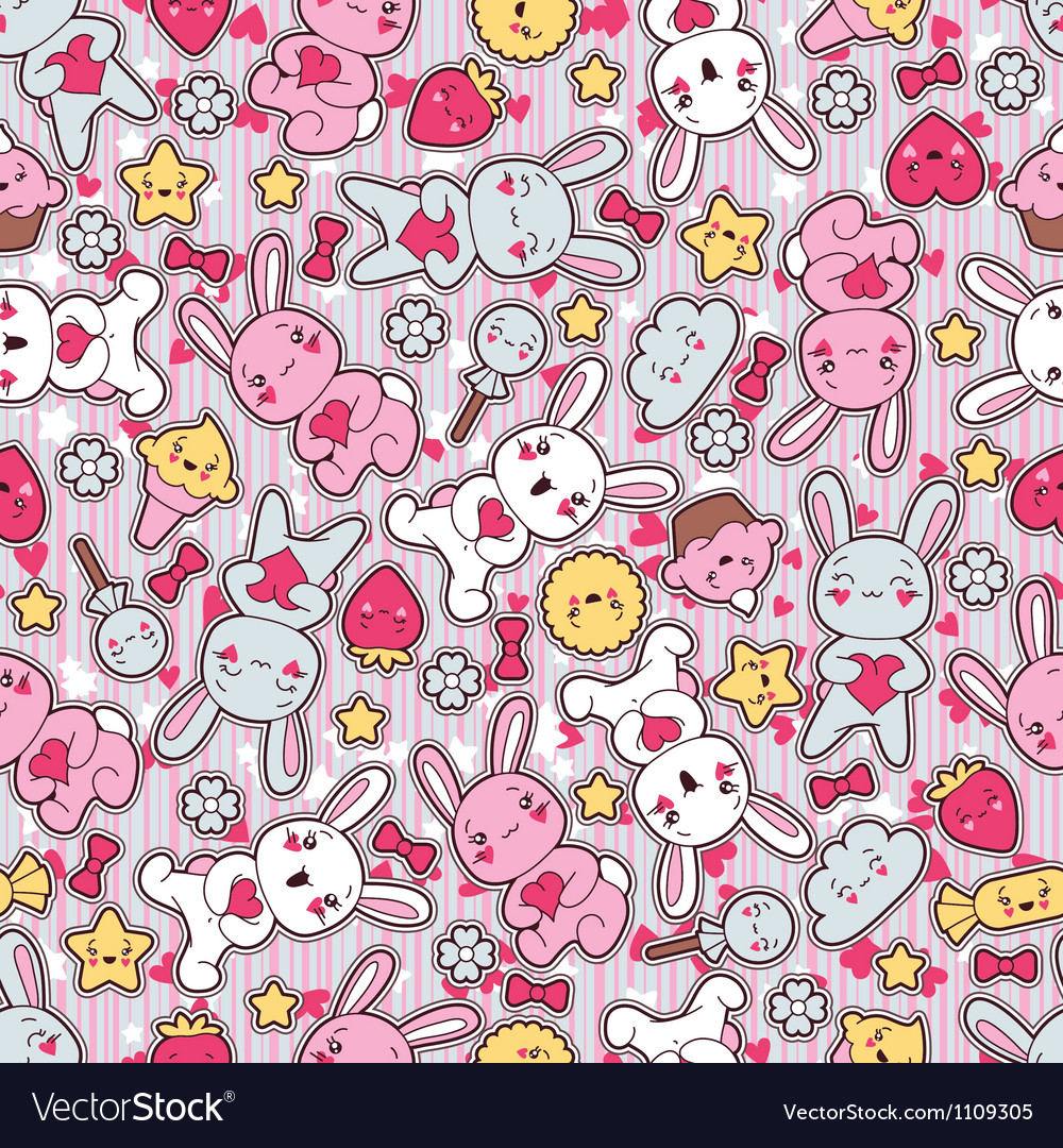 Seamless kawaii child pattern with cute doodles vector | Price: 1 Credit (USD $1)