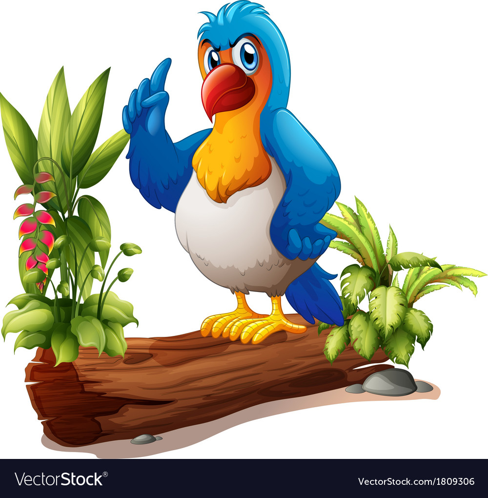 A parrot above the trunk with plants vector | Price: 1 Credit (USD $1)