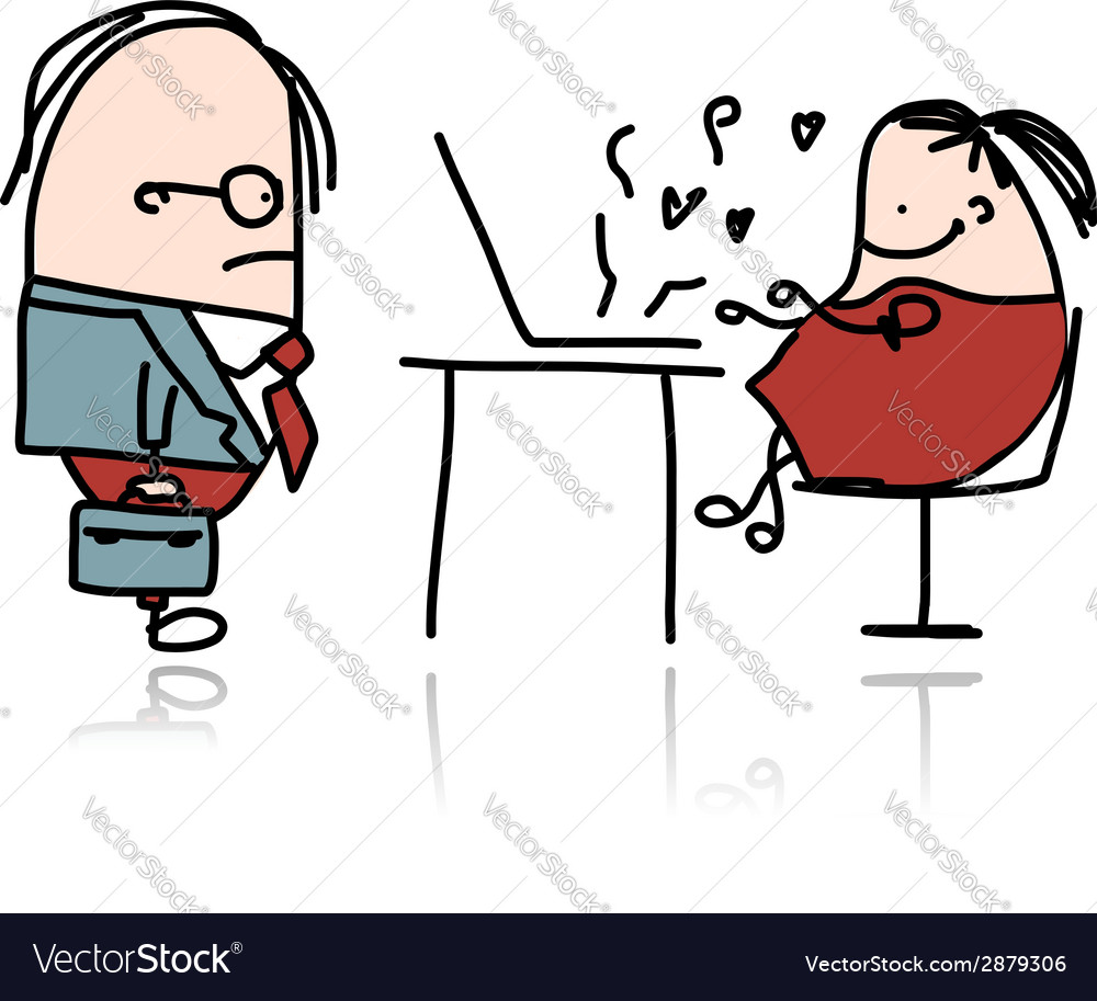 Angry boss and secretary cartoon for your design vector | Price: 1 Credit (USD $1)