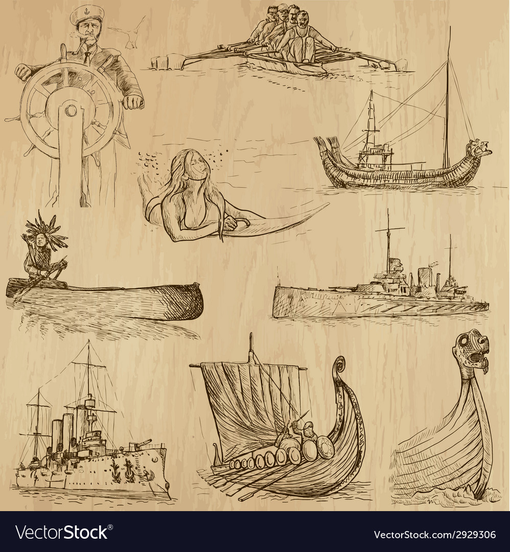 Boats - an hand drawn vector | Price: 1 Credit (USD $1)
