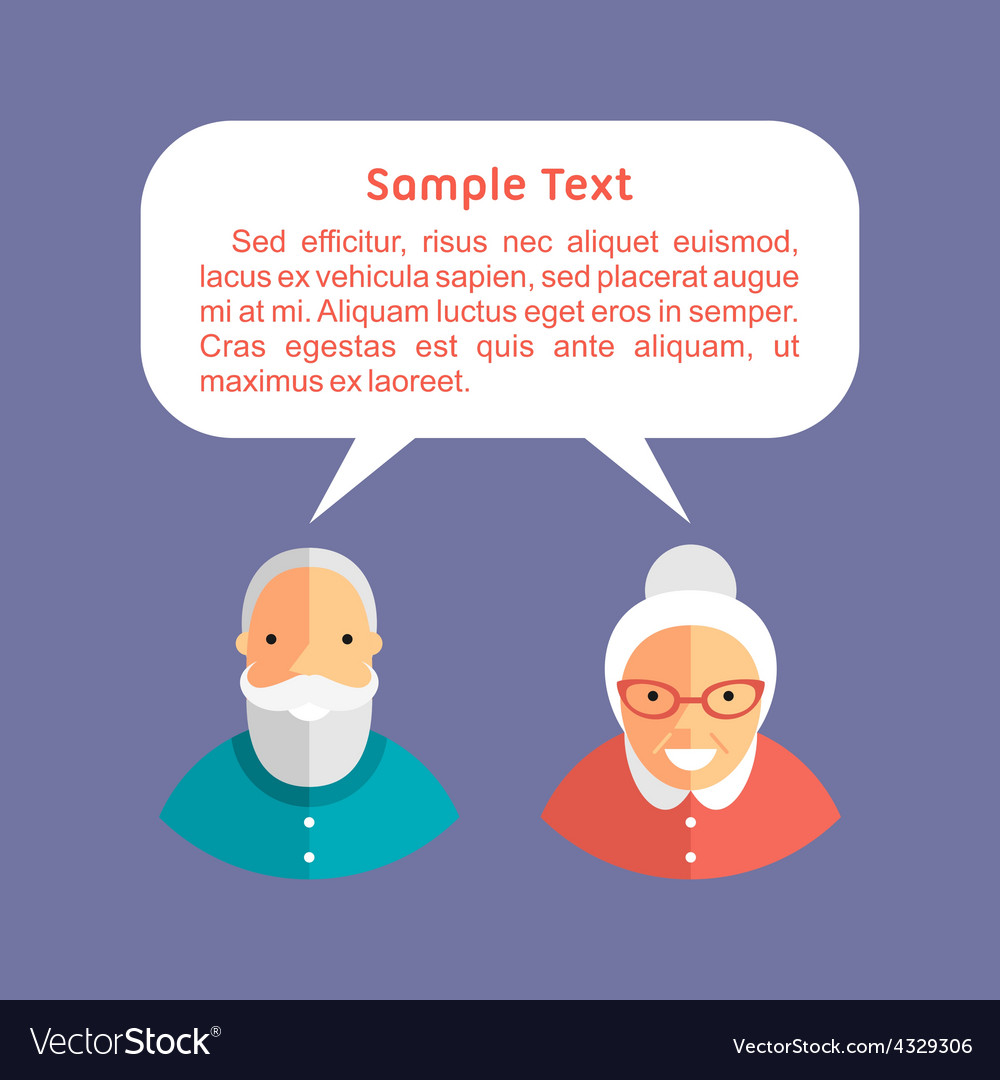 Grandfather and grandmother with speech bubbles vector | Price: 1 Credit (USD $1)