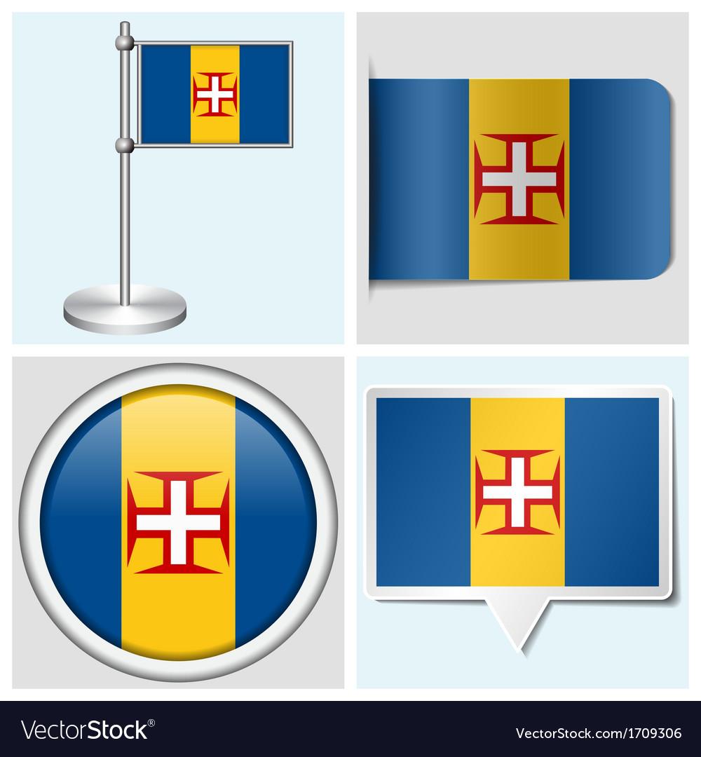 Madeira flag - sticker button label flagstaff vector | Price: 1 Credit (USD $1)