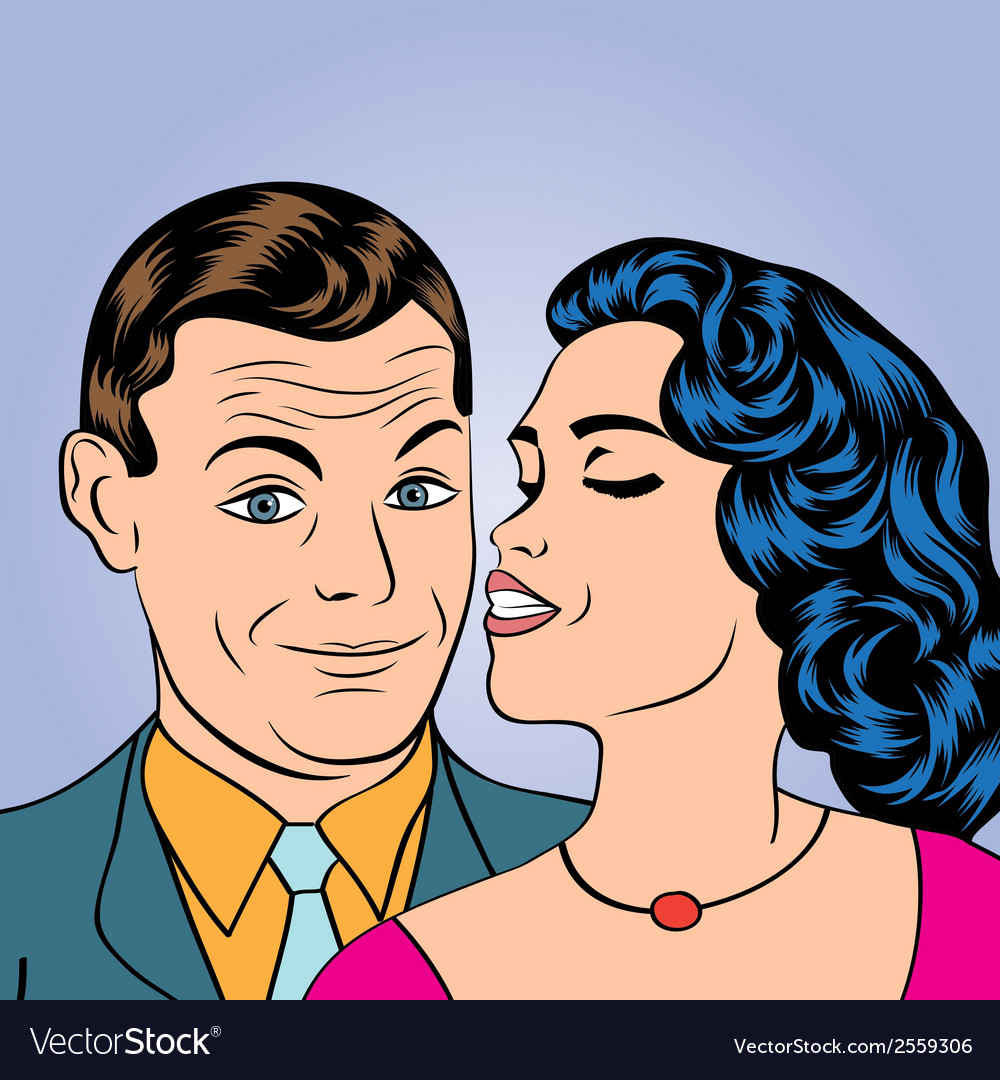 Man and woman love couple in pop art comic style vector | Price: 1 Credit (USD $1)