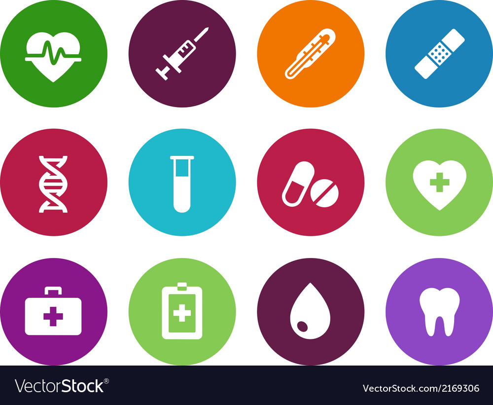 Medical circle icons on white background vector   Price: 1 Credit (USD $1)