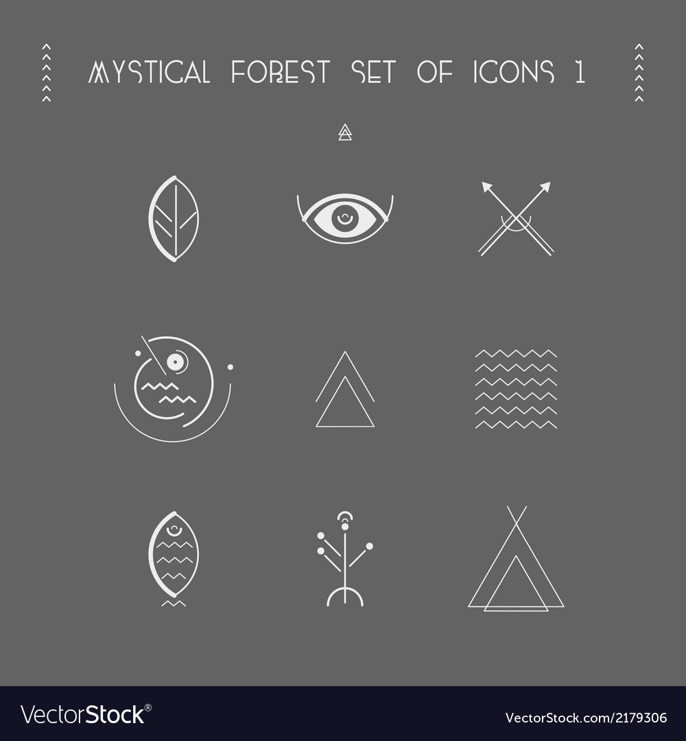Mystical forest set of icons 1 vector | Price: 1 Credit (USD $1)