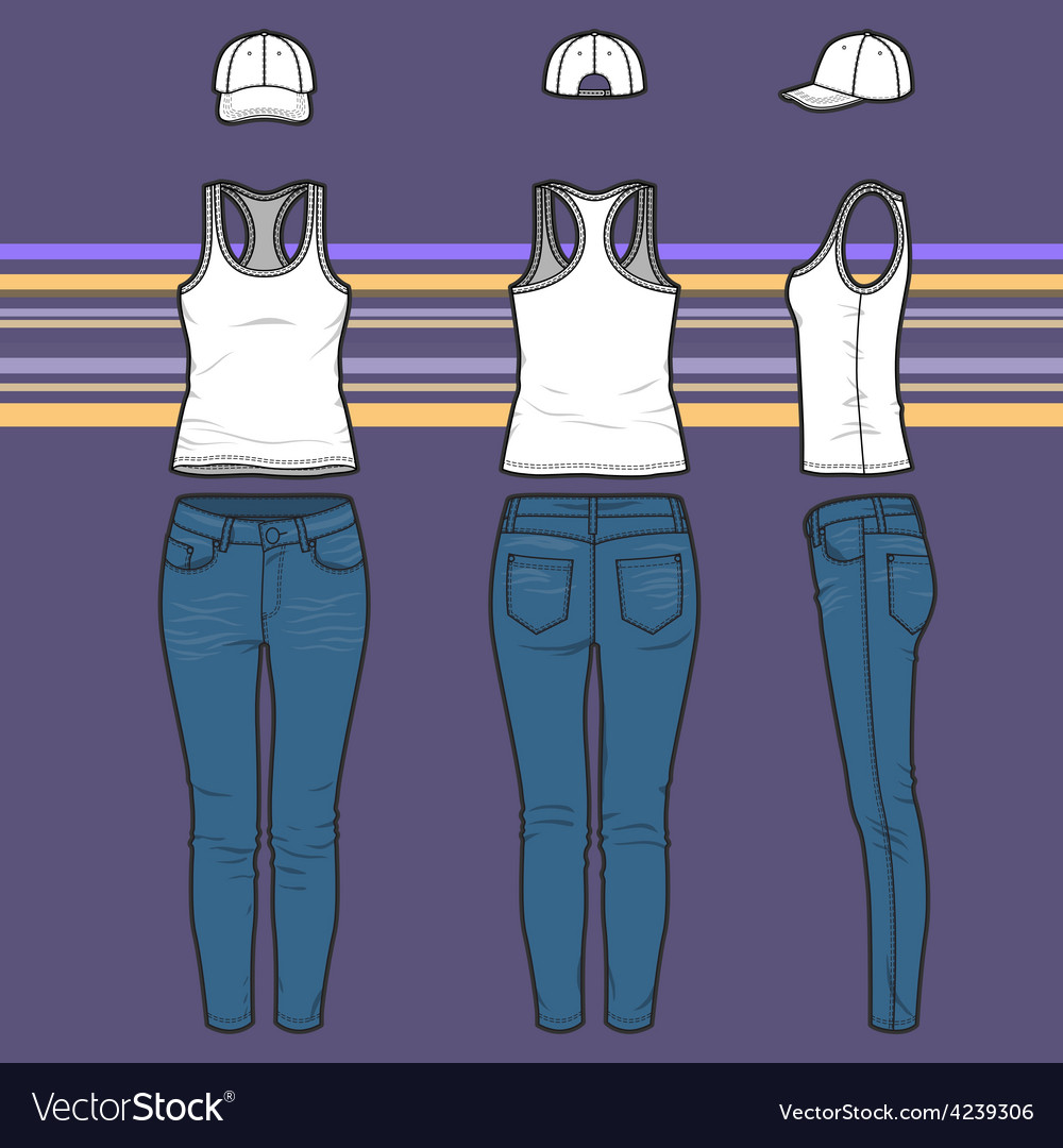 Racer top cap and jeans set vector | Price: 1 Credit (USD $1)
