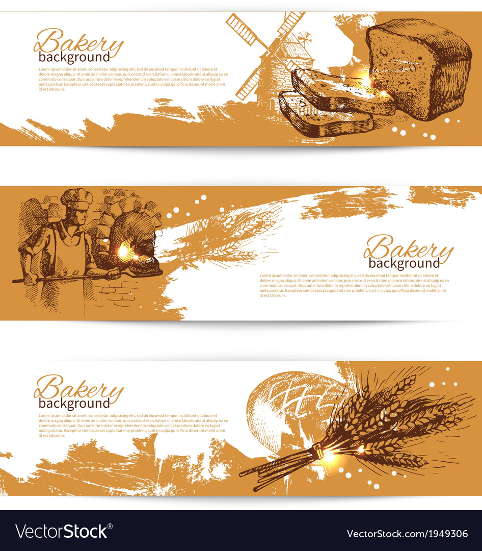 Set of bakery sketch banners vector | Price: 1 Credit (USD $1)