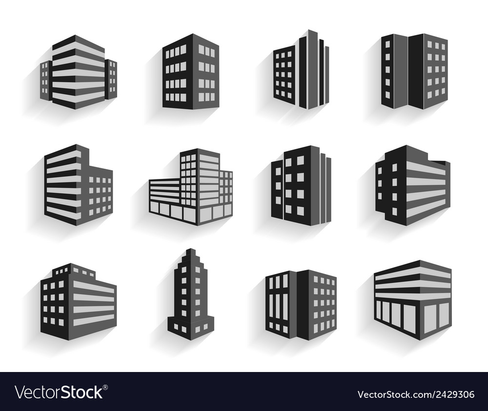 Set of dimensional buildings icons vector | Price: 1 Credit (USD $1)