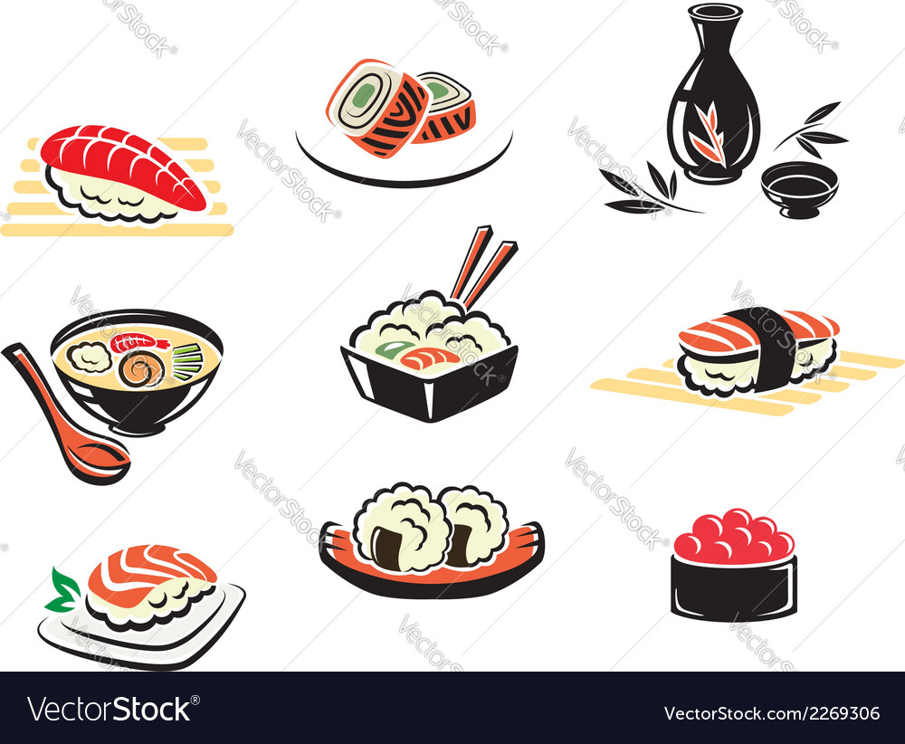 Set of japanese seafood icons vector | Price: 1 Credit (USD $1)