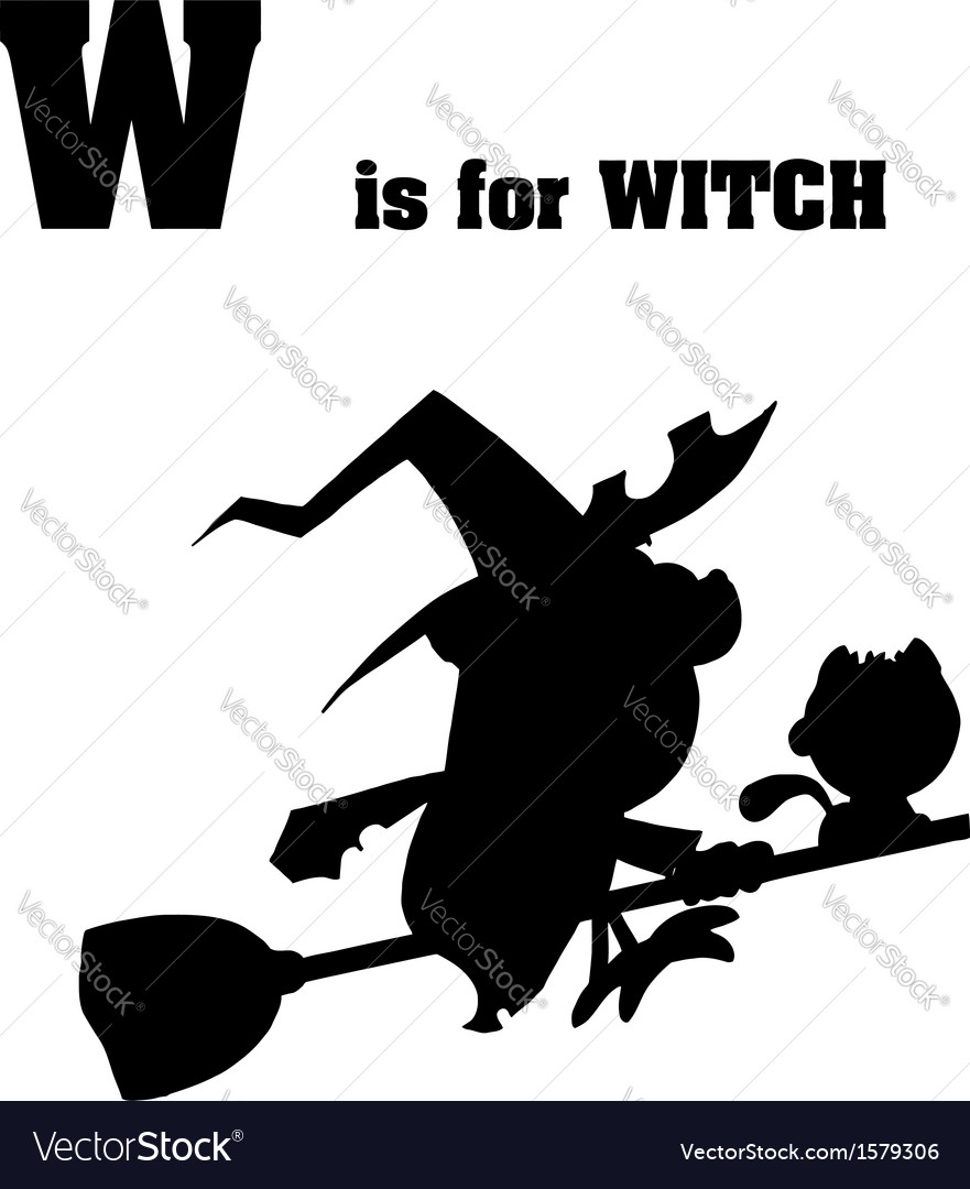 Witch cartoon silhouette vector | Price: 1 Credit (USD $1)