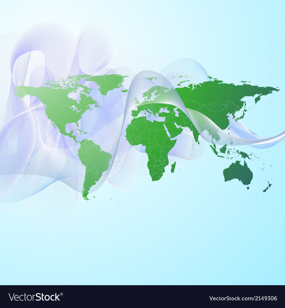 World map on the green smoke background vector   Price: 1 Credit (USD $1)