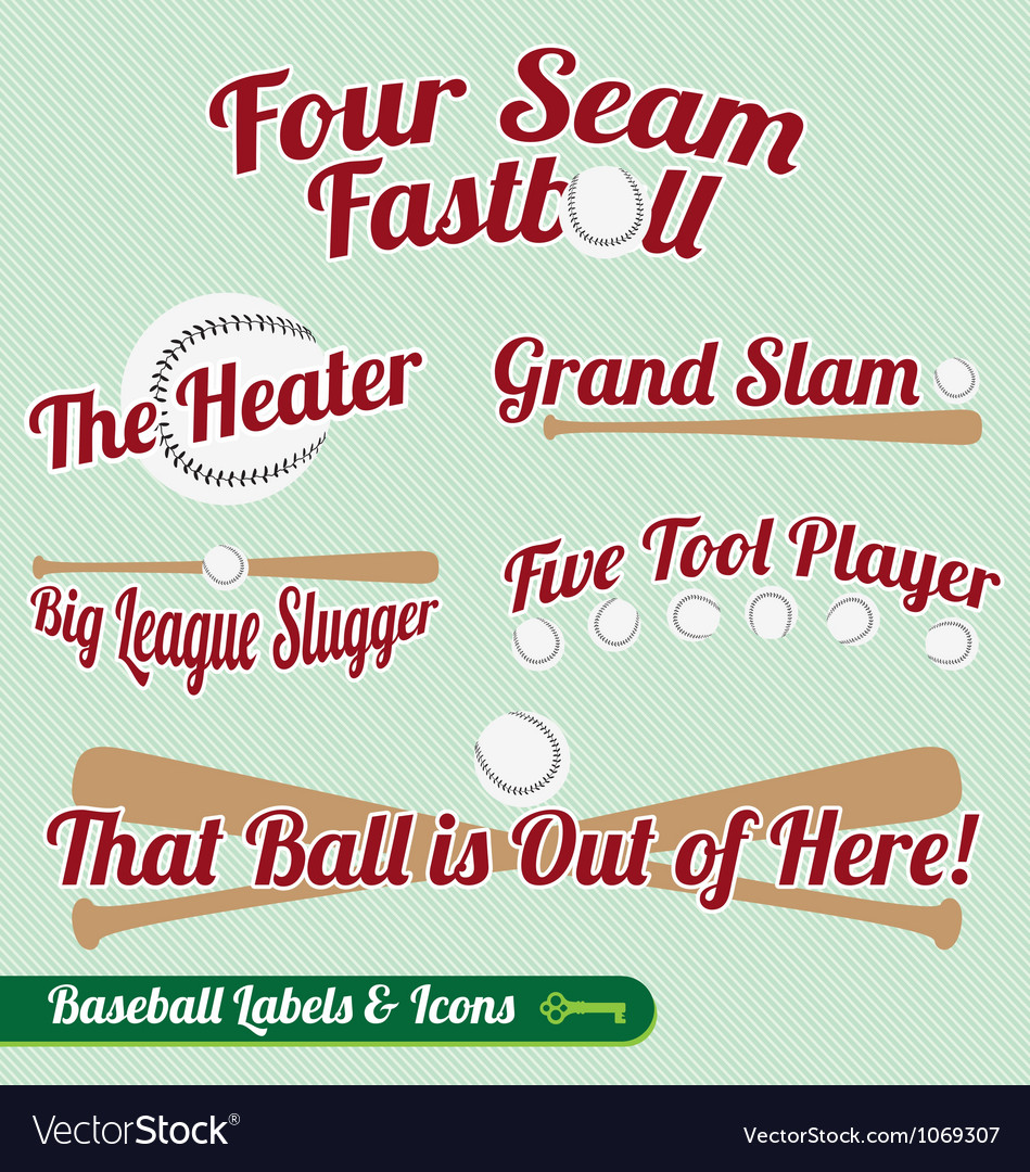 Baseball bat and ball labels and icons with slogan vector