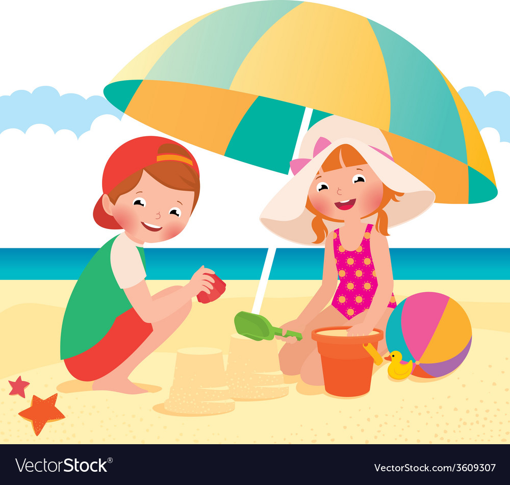 Children playing on the beach vector | Price: 1 Credit (USD $1)