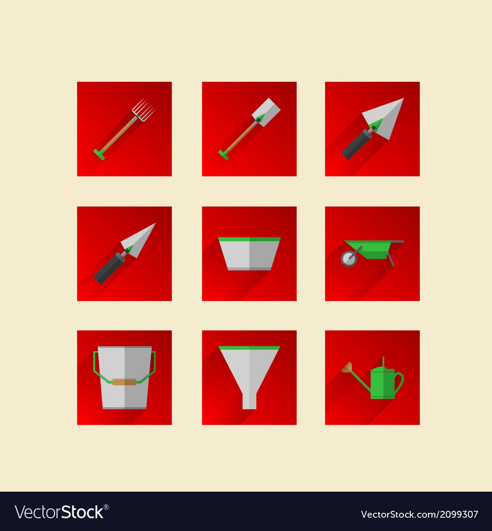 Flat icons for gardening tools vector | Price: 1 Credit (USD $1)