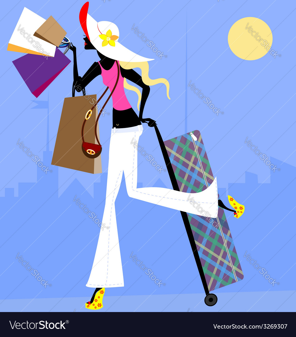 Girl with suitcase vector | Price: 1 Credit (USD $1)