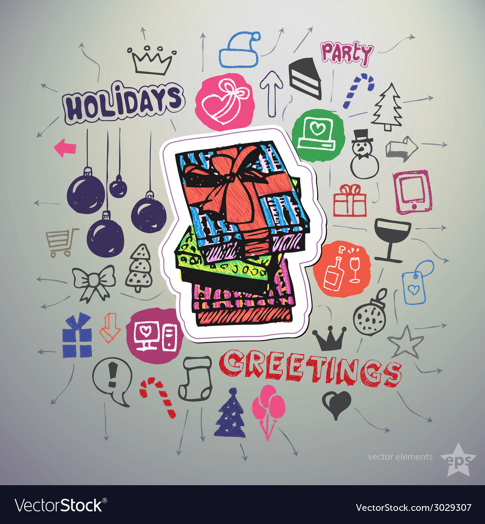 Hand drawn holiday icons set and sticker with gift vector | Price: 3 Credit (USD $3)