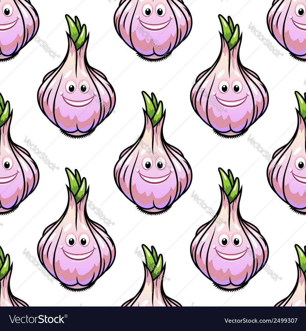 Healthy fresh garlic seamless pattern vector | Price: 1 Credit (USD $1)