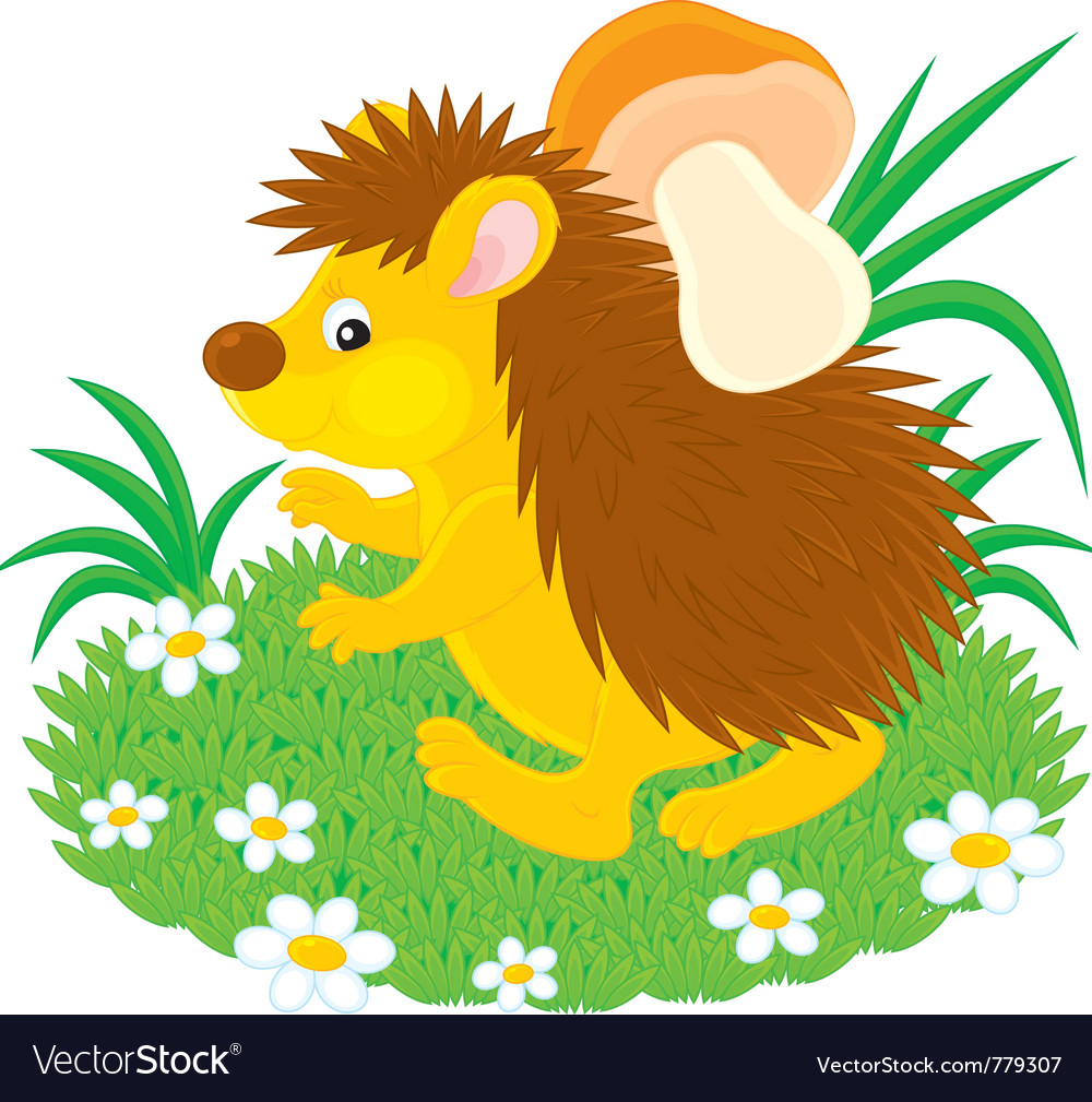 Hedgehog with a mushroom vector | Price: 3 Credit (USD $3)