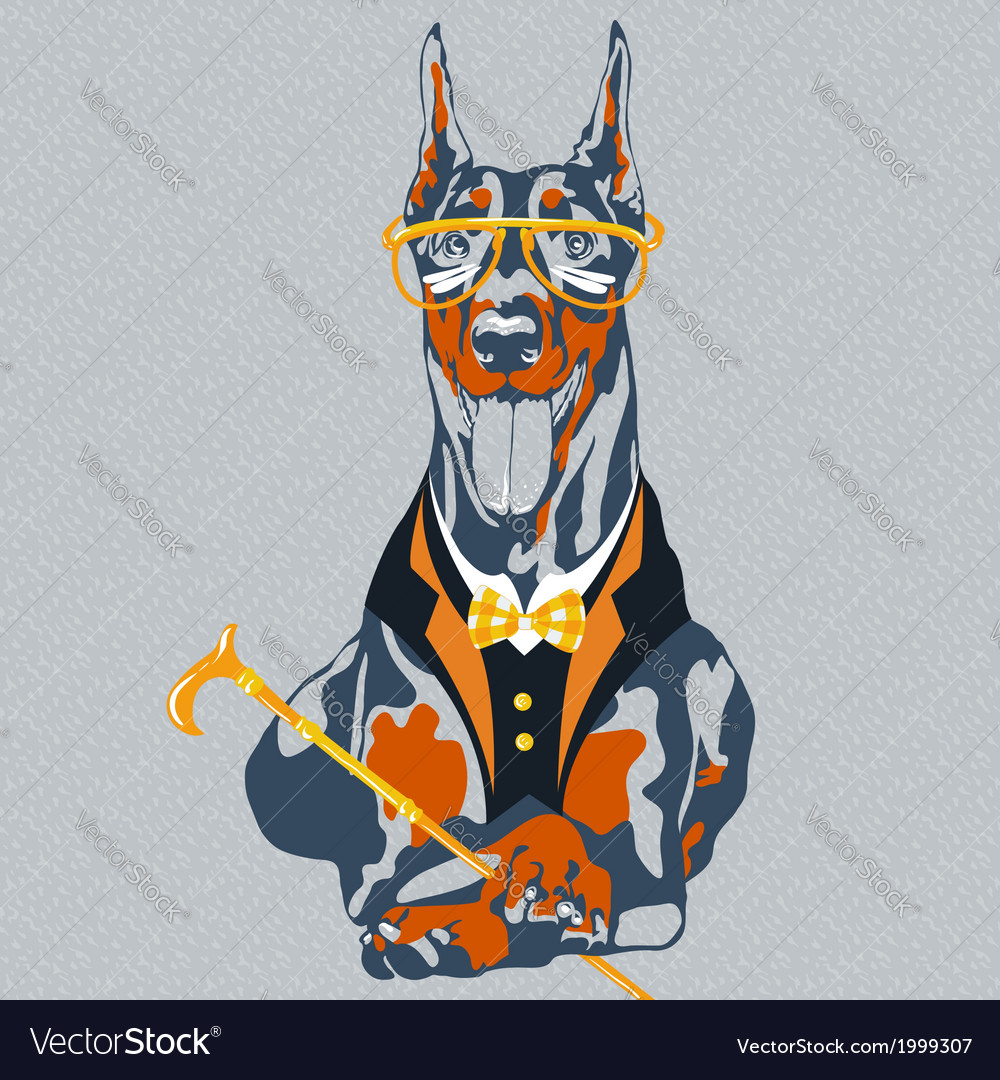 Hipster dog doberman pinscher breed vector | Price: 1 Credit (USD $1)