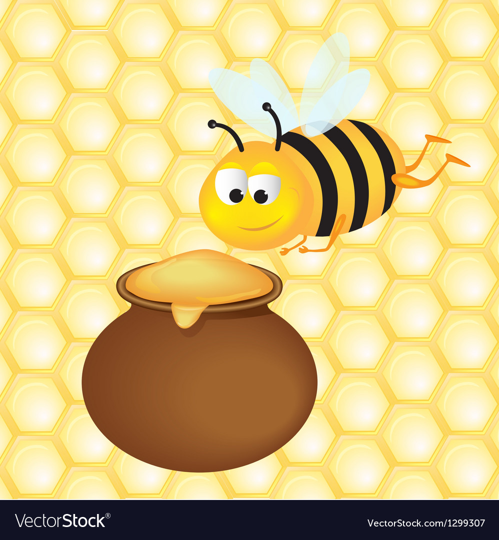Honey pot and bee vector | Price: 1 Credit (USD $1)