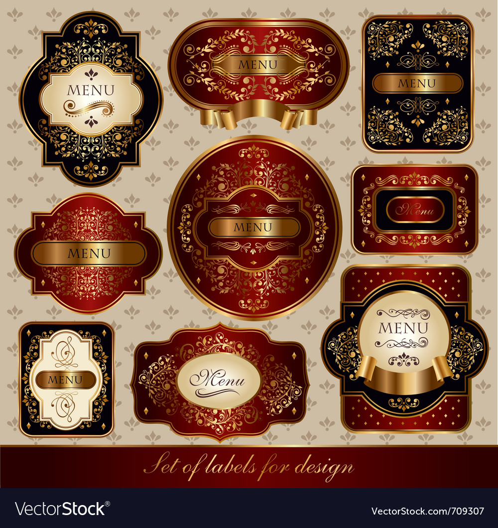 Set of black-golden elegance labels vector | Price: 3 Credit (USD $3)