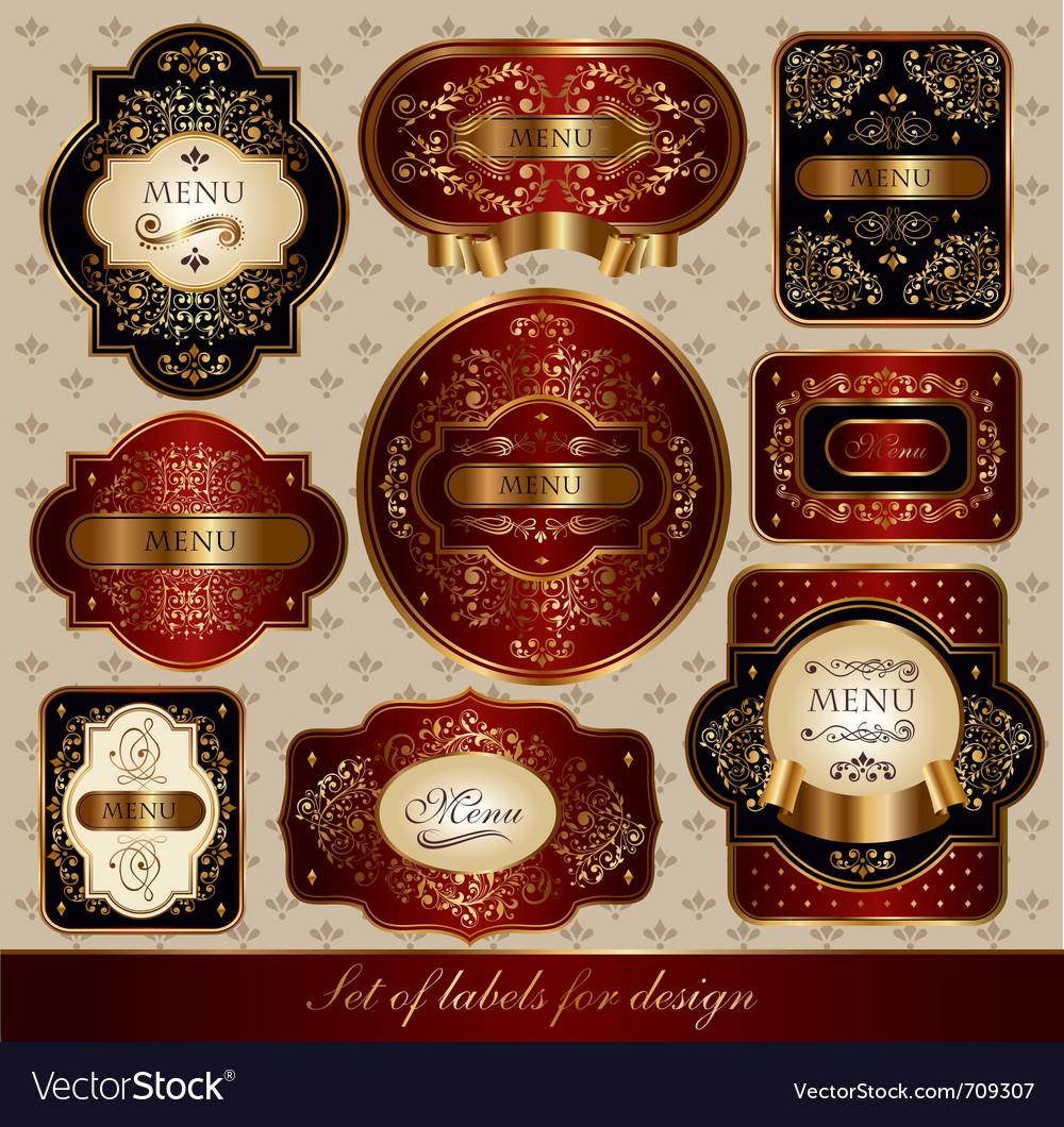 Set of black-golden elegance labels vector | Price: 3 Credit (USD $3)