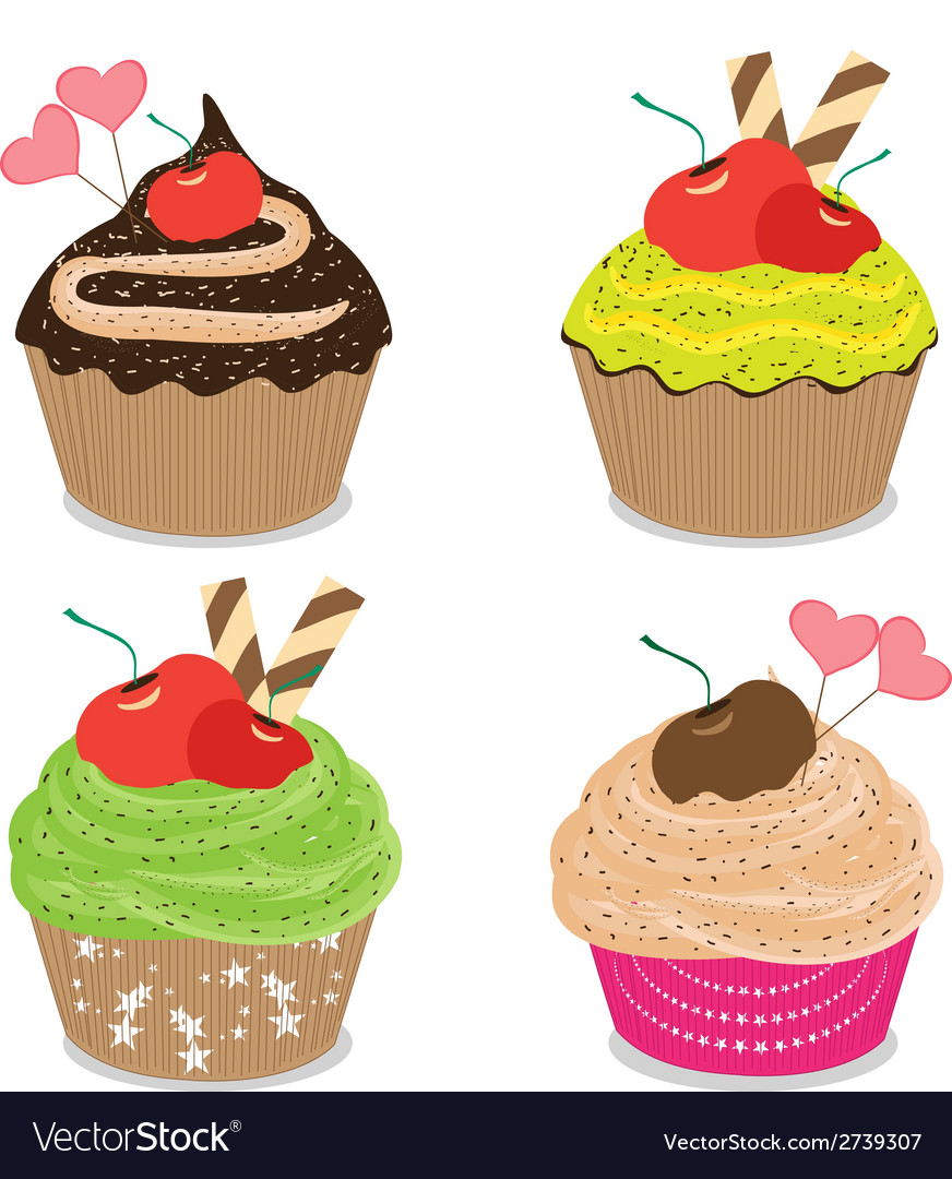 Set of delicious cupcakes isolated on white vector | Price: 1 Credit (USD $1)