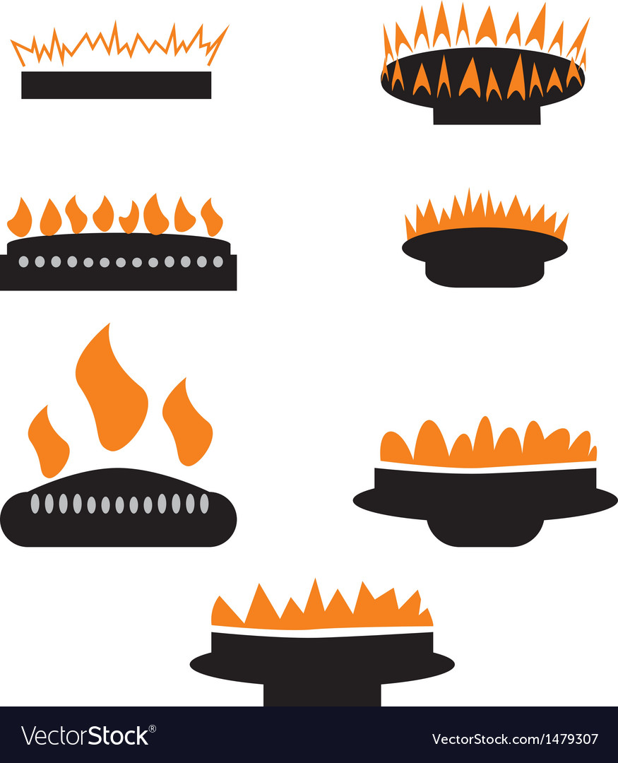 Set of gas icons with burner vector | Price: 1 Credit (USD $1)