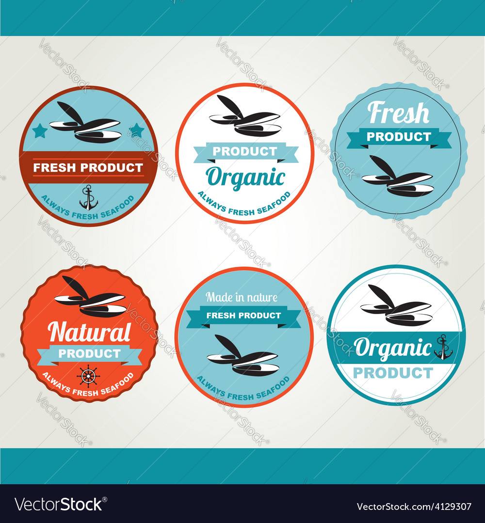 Set of seafood icons retro labels stamps vector | Price: 1 Credit (USD $1)