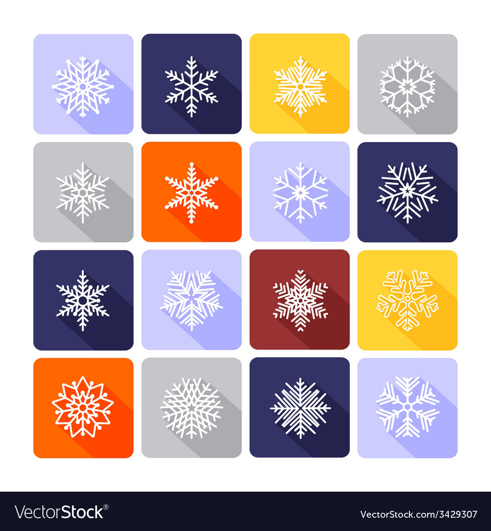Snowflake flat icons vector | Price: 1 Credit (USD $1)