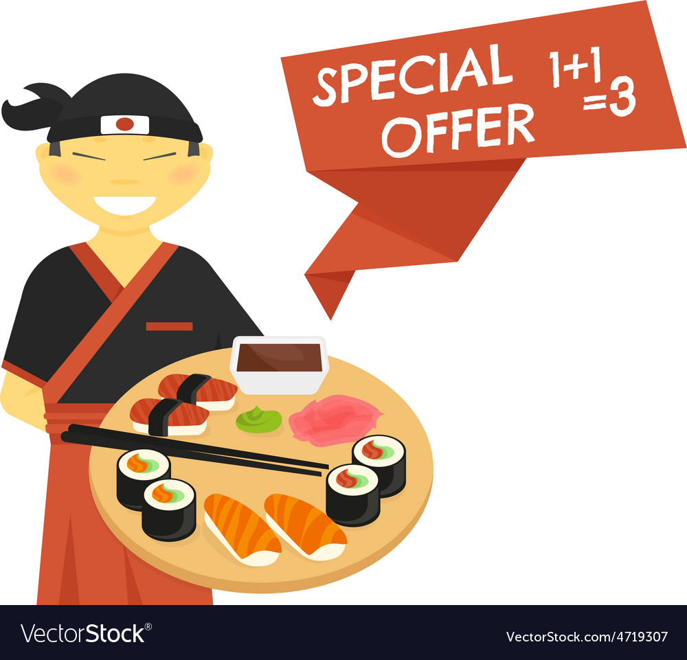 Sushi chef with special offer banner vector | Price: 1 Credit (USD $1)