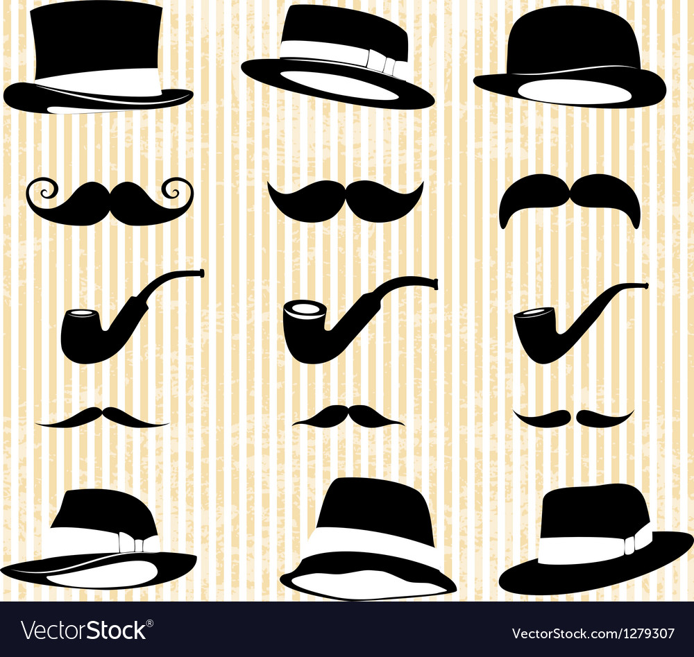 Vintage set with mustaches hats and one pipe vector | Price: 1 Credit (USD $1)