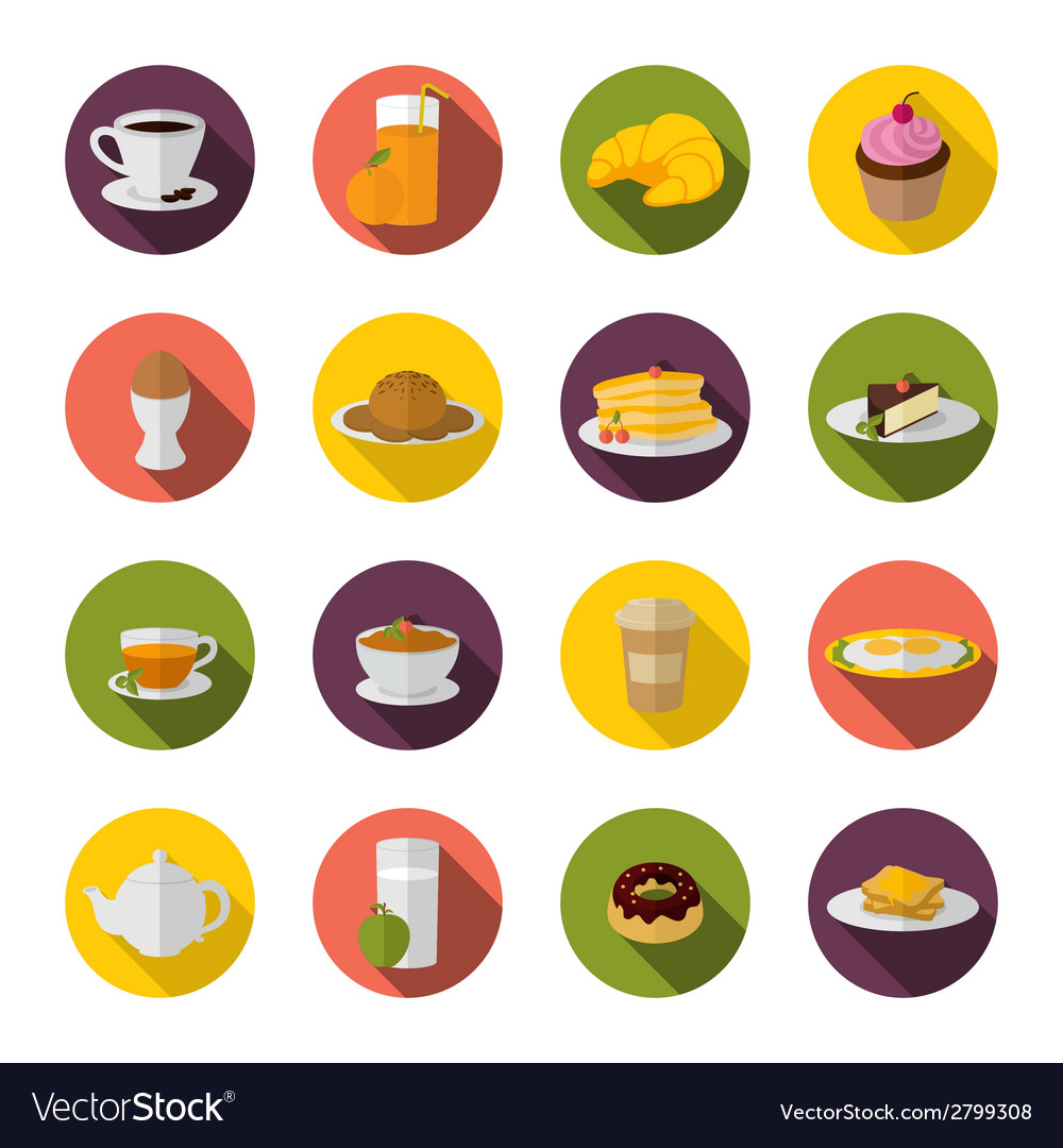Breakfast icon flat vector | Price: 1 Credit (USD $1)
