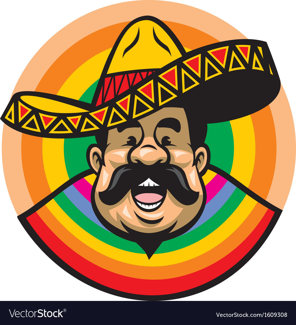 Cartoon of smiling mexican man with sombrero vector | Price: 1 Credit (USD $1)