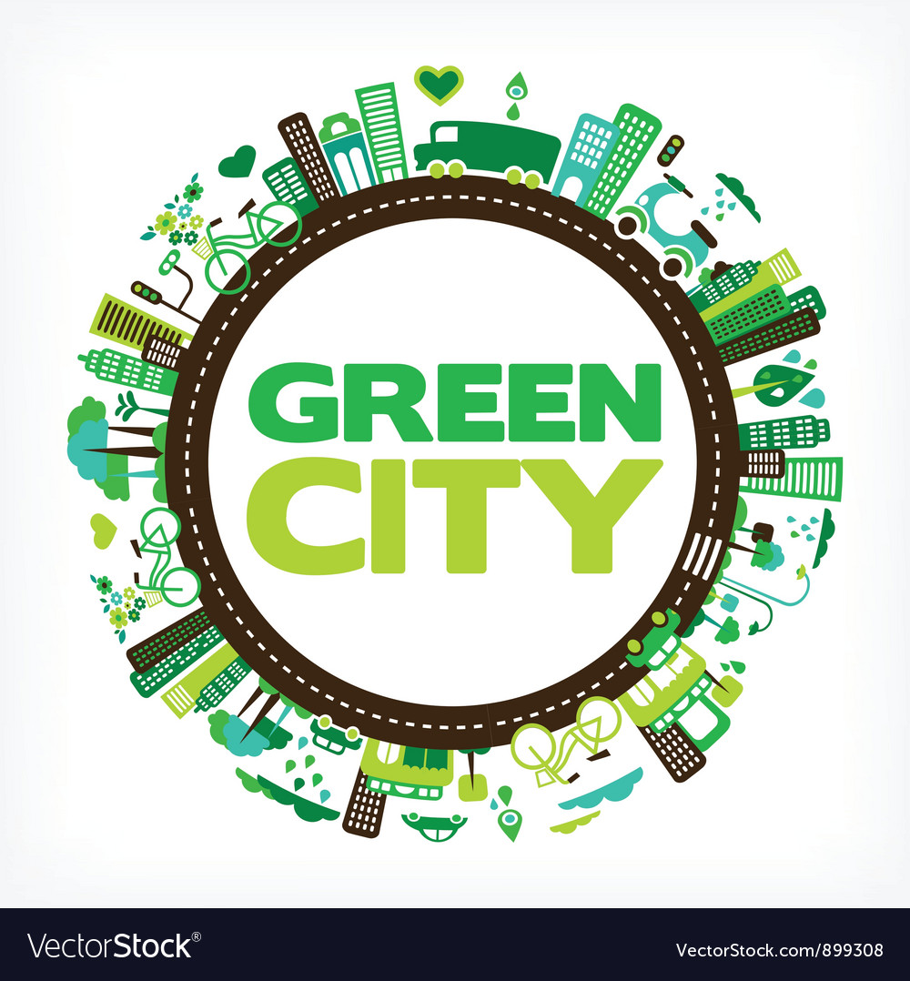 Circle with green city vector | Price: 3 Credit (USD $3)