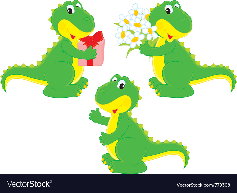 Dinosaur with a gift and nosegay vector | Price: 1 Credit (USD $1)