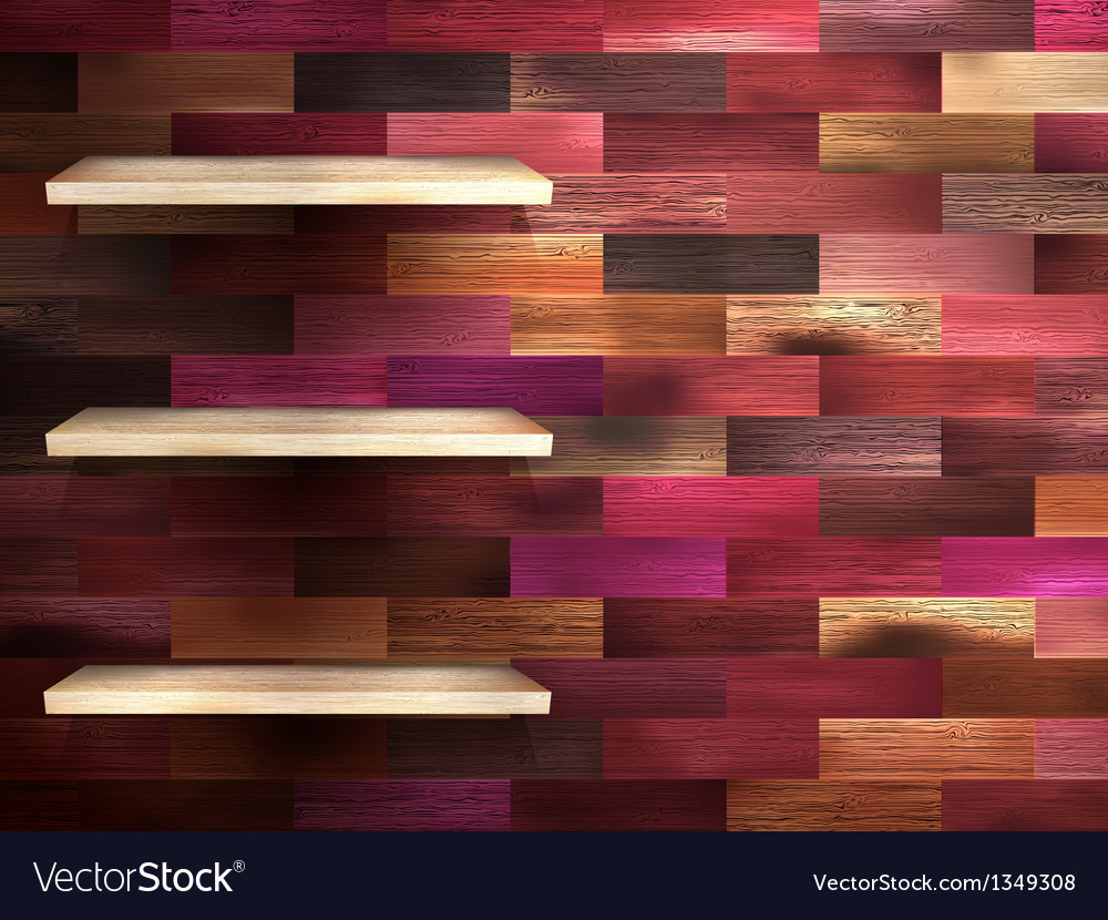 Empty shelf for exhibit on color wood eps 10 vector | Price: 1 Credit (USD $1)