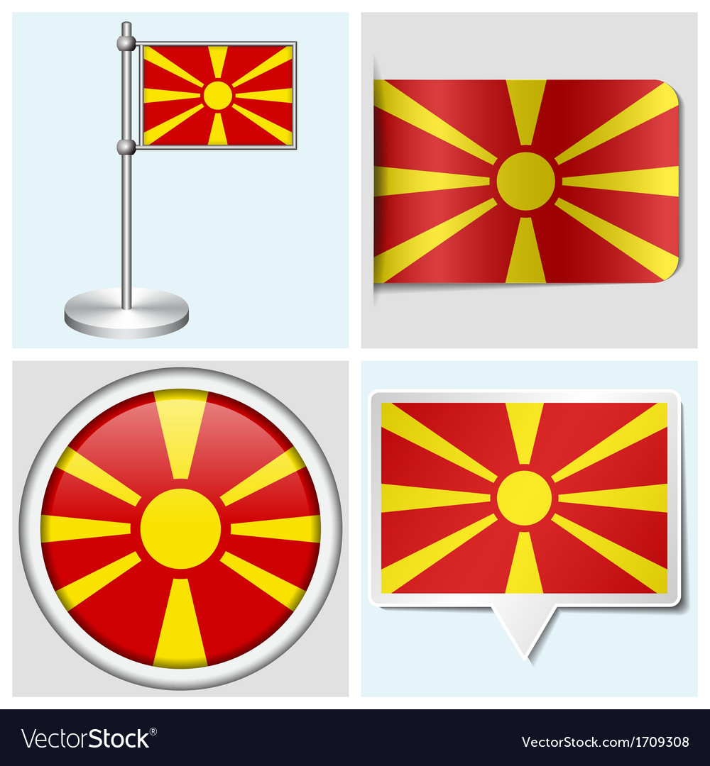 Macedonia flag - sticker button label flagstaff vector | Price: 1 Credit (USD $1)