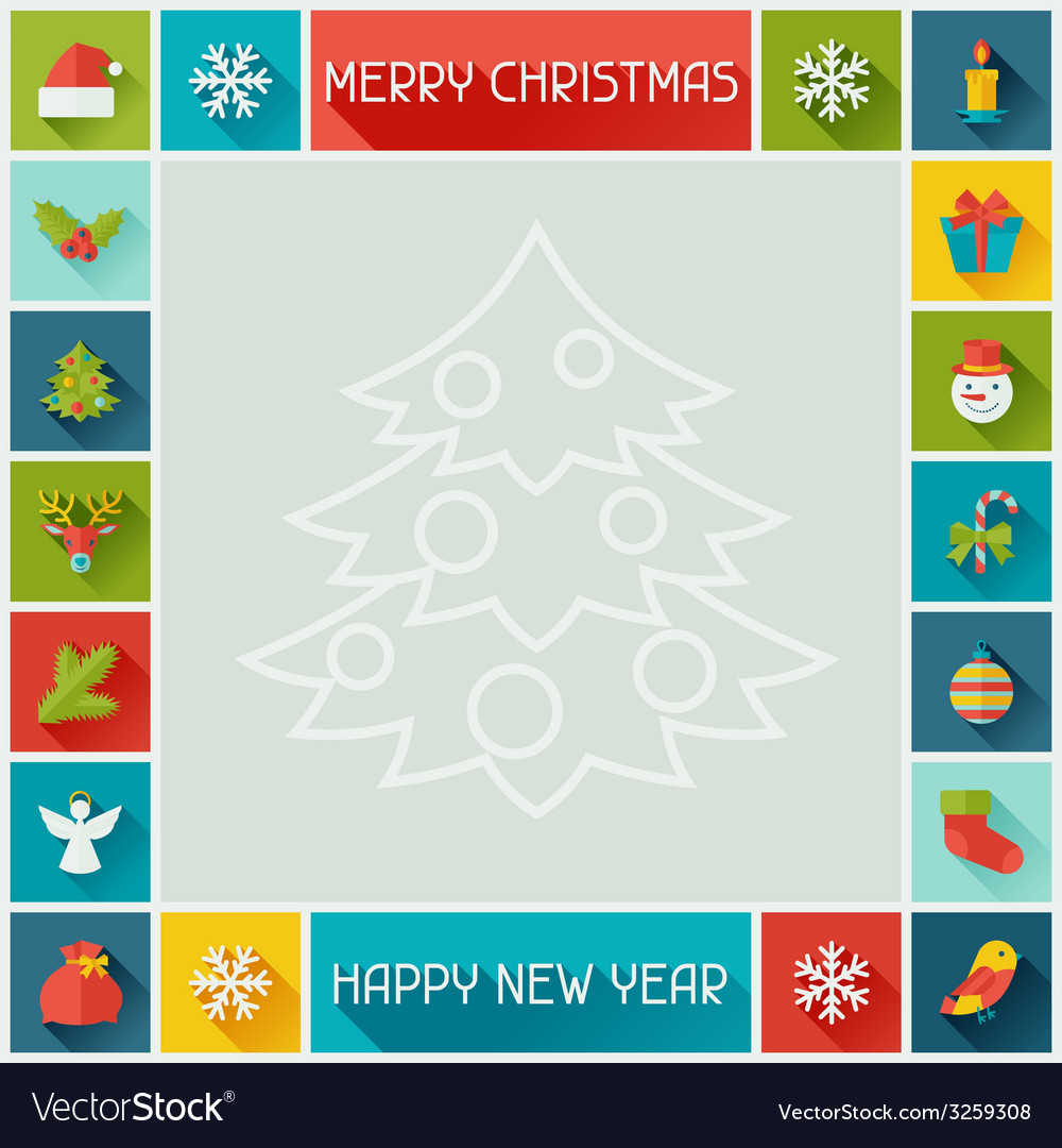 Merry christmas and happy new year frame vector | Price: 1 Credit (USD $1)