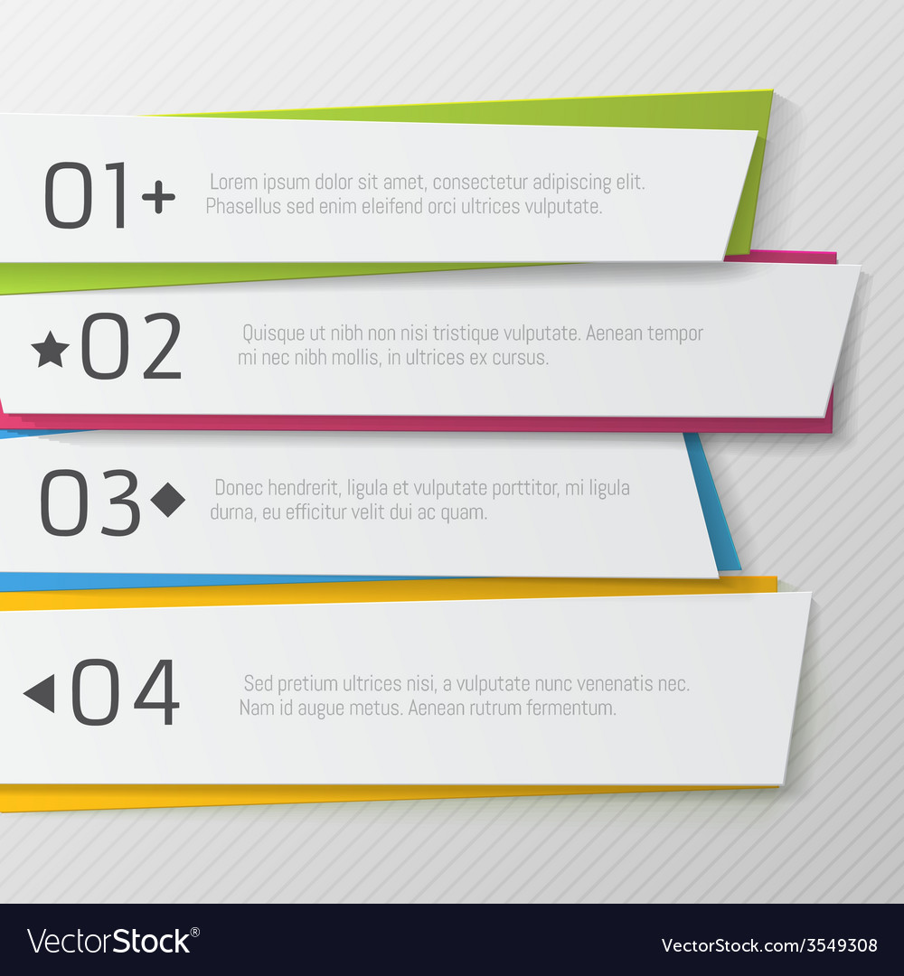 Modern paper numbered banners color design vector | Price: 1 Credit (USD $1)