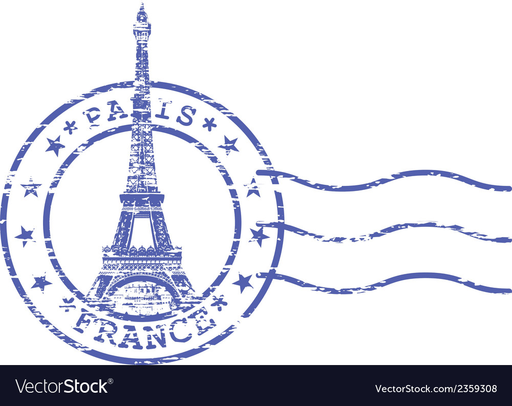 Shabby stamp with eiffel tower - sights of paris vector | Price: 1 Credit (USD $1)