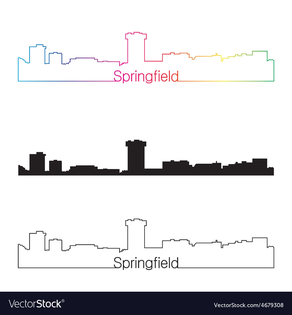 Springfield skyline linear style with rainbow vector | Price: 1 Credit (USD $1)